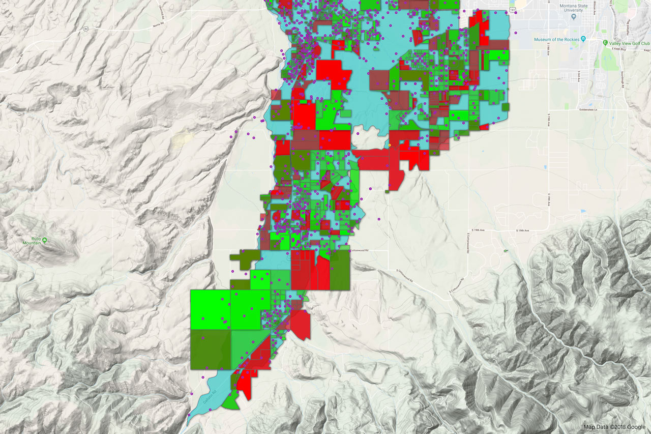 HydroLogic™ screenshot of exempt wells in Gallatin County